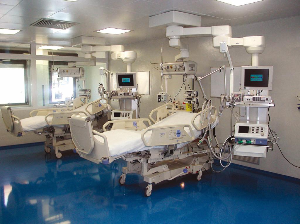 La sala chirurgica del reparto di rianimazione ospedale Sirai di Carbonia.