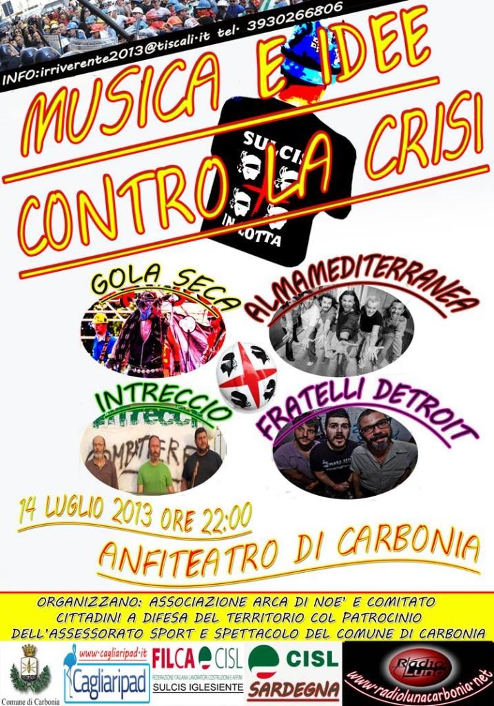 """Il 14 luglio Carbonia ospita l'incontro musicale """"Musica e idee contro la crisi""""."""