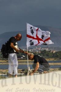 La manifestazione di protesta in occasione della visita a Teulada del  ministro della Difesa Mario Mauro.