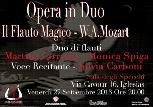 """Opera in duo """"Il flauto magico"""" venerdì sera nella Sala degli Specchi di Iglesias."""