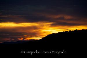 Il tramonto del 18 ottobre 2013 su Monte Sirai.