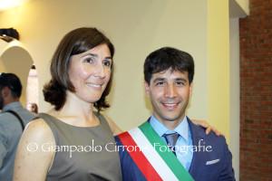 Elvira Usai e Federico Palmas il giorno dell'insediamento del Consiglio comunale dopo le elezioni del 2011.