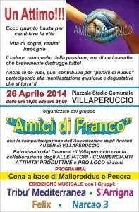 Sabato sera a Villaperuccio, cena a base di malloreddus e pecora con esibizione musicale di quattro gruppi.