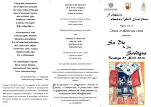 Il Gruppo Folk di Sant'Anna Arresi e l'Amministrazione comunale di Sant'Anna Arresi hanno organizzato un'iniziativa per celebrare Sa Die de Sa Sardigna, per domenica 27 aprile.