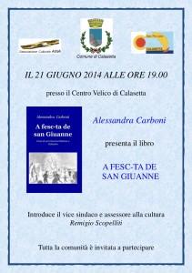Sabato sera verrà presentato a Calasetta il libro A Fesc-ta De San Giuanne, di Alessandra Carboni.