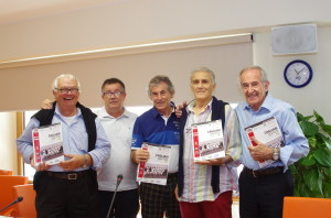 Da sinistra Cesare Poli, Luigi Piras, Ricciotti Greatti, Giuseppe Tomasini e Adriano Reginato.
