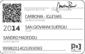 Sandro Madeddu tessera PD