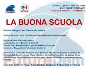 Si parlerà di scuola, sabato in Piazza 1° maggio, a Carbonia, su iniziativa di FutureDem Sardegna.