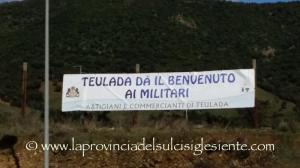 """""""Teulada dà il benvenuto ai militari"""", l'iniziativa è firmata da artigiani e commercianti di Teulada."""