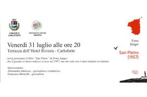 """E' in programma questa sera, a Carloforte, la presentazione del libro """"San Pietro"""", di Ernst Junger."""