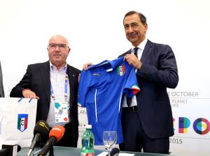 Il presidente del Consiglio Federale della FIGC, Carlo Tavecchio, oggi ha visitato Expo Milano 2015.