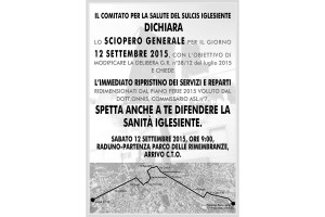 Iglesias si fermerà, il 12 settembre, in occasione dello sciopero generale organizzato dal Comitato per la Salute del Sulcis Iglesiente.