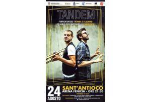 """L'Arena Fenicia di Sant'Antioco ospiterà lunedì prossimo, 24 agosto, lo spettacolo musicale """"Tandem""""."""