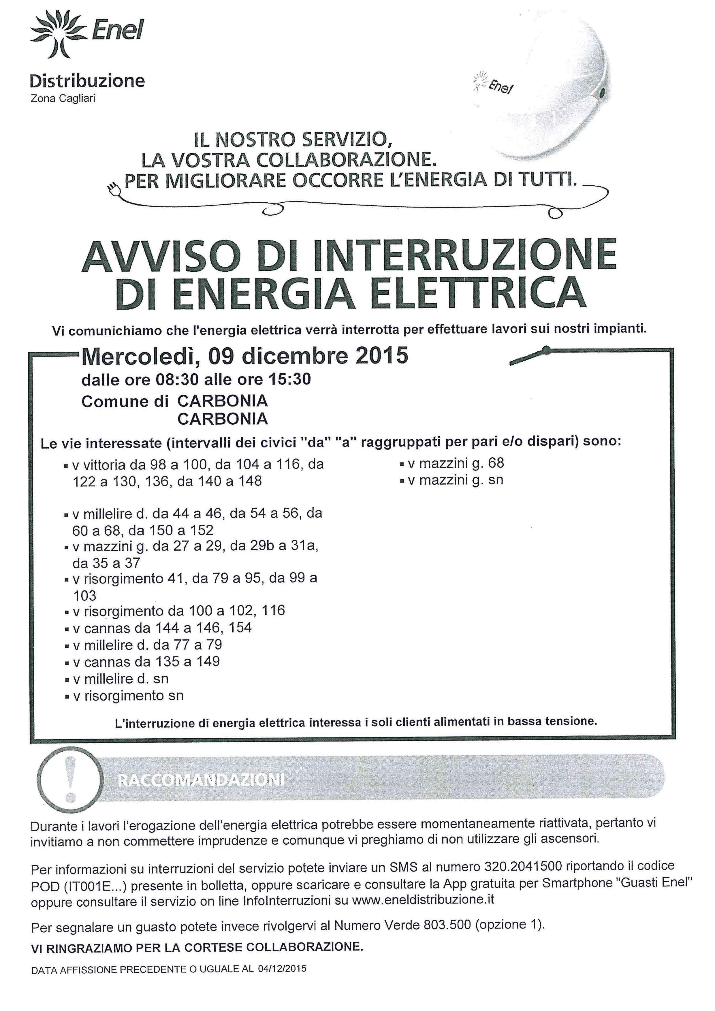 Mercoled causa lavori l enel distaccher l energia - Enel richiesta interramento linea ...