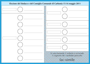 Il fac-simile della scheda elettorale di Carbonia 2011.