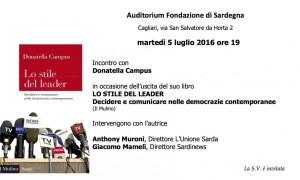 E' in programma domani a Cagliari, nell'auditorium della Fondazione di Sardegna, un incontro con Donatella Campus.