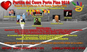 """E' in programma questa sera, allo stadio comunale di Giba, inizio ore 21.00, la seconda edizione de """"La Partita del Cuore – Porto Pino 2016""""."""