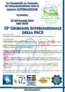 """Giovedì 22 settembre, presso la comunità """"La Collina"""", a Serdiana, verrà celebrata la 35ª Giornata Internazionale della Pace."""