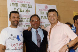 Pietro Tardini con il coach Radames Lattari e il direttore sportivo Nereo Baliello.