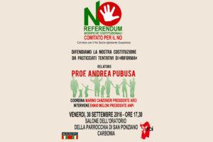 A Carbonia, alle 17.30, scende in campo il comitato per No al referendum delle modifiche costituzionali.