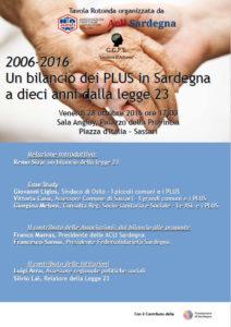 Le ACLI della Sardegna hanno organizzato a Sassari un incontro pubblico sui 10 anni dei PLUS in Sardegna per venerdì 28 ottobre.