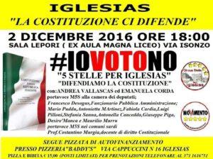 Venerdì sera la sala Lepori di Iglesias ospiterà un'iniziativa del Movimento 5 Stelle per Iglesias a sostegno del NO al referendum costituzionale.