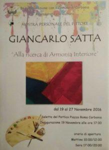 """Verrà inaugurata alle 17.00, nella saletta del Portico, a Carbonia, la mostra personale del pittore Giancarlo Satta """"Alla ricerca di Armonia Interiore""""."""