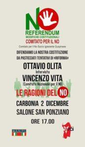 Venerdì, a Carbonia, Ottavio Olita intervista Vincenzo Vita,  rappresentante del Comitato nazionale per il NO al referendum.