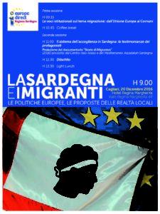 """Il 20 dicembre, all'Hotel Regina Margherita di Cagliari, si terrà un convegno su """"La Sardegna e i migranti: le politiche europee, le proposte delle realtà locali""""."""