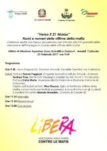 """Giovedì 23 febbraio l'Aula Magna del Liceo Scientifico di Carbonia, ospiterà l'incontro """"Verso il 21 marzo. Nomi e numeri delle vittime della mafia""""."""