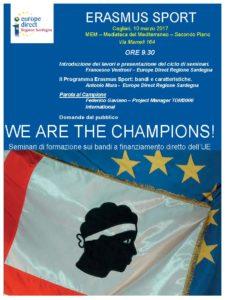 """Venerdì 10 marzo primo appuntamento del ciclo di incontri """"We are the champions!"""", seminari di formazione sui bandi a finanziamento diretto dell'Unione Europea."""