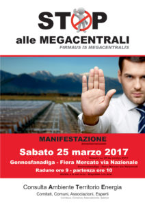 I consiglieri e l'assessore del Gruppo Sinistra per la Democrazia e il Progresso sostengono la manifestazione di Gonnosfanadiga contro il termodinamico.