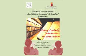 """E' in programma domattina, a Iglesias, il nuovo appuntamento di """"Letture d'archivio… Terra nostra tra carte e volumi""""."""