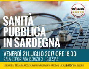 """Gli attivisti del gruppo """"5 stelle per Iglesias Afferente al M5S"""" hanno organizzato un incontro sulla sanità pubblica per venerdì 21 luglio, a Iglesias."""