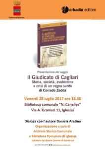 Venerdì 28 luglio, a Iglesias, verrà presentato il saggio di Corrado Zedda sul Giudicato di Cagliari.