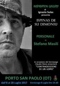 """E' in programma domani, 8 luglio, a Porto San Paolo, l'inaugurazione della personale di Stefano Masili """"Ispinas de Su Dimòniu""""."""