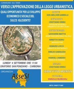 L'assessore regionale dell'Urbanistica Cristiano Erriu parteciperà ad un convegno che si terrà lunedì 4 settembre a Carbonia.