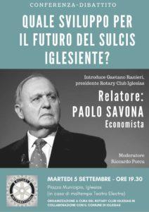 Martedì sera la piazza Municipio di Iglesias ospiterà una conferenza sul possibile sviluppo del territorio con il prof. Paolo Savona.