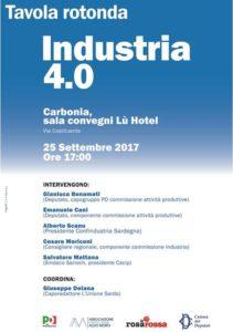 Lunedì 25 settembre, al Lù Hotel di Carbonia, si svolgerà la Tavola Rotonda sul tema Industria 4.0.