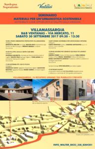 """Sabato 30 settembre, il B&B Ventanas, a Villamassargia, ospiterà il secondo appuntamento di """"Materiali per un'urbanistica sostenibile""""."""