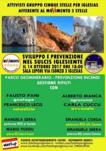 """Gli attivisti del gruppo """"5 stelle per Iglesias afferente al M5S"""" hanno organizzato un incontro su Geoparco, prevenzione incendi e gestione dei rifiuti per sabato 14 ottobre."""