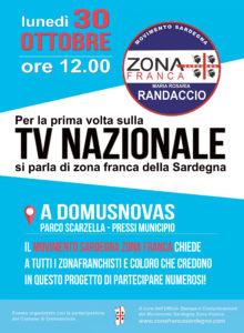 La TV nazionale con il Movimento Zona Franca lunedì 30 ottobre a Domusnovas.