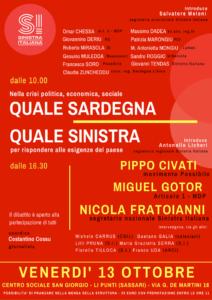 La sinistra in Sardegna si interrogherà sul suo futuro, venerdì 13 ottobre, in un convegno a Li Punti (Sassari).