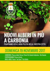 Domenica 19 e martedì 21 novembre verranno piantumati a Carbonia 250 arbusti.