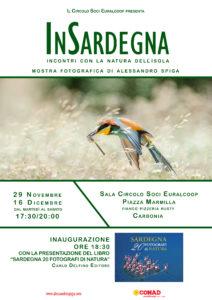 Mercoledì 29 novembre, alle ore 18.30, presso il Circolo Soci Euralcoop, in piazza Marmilla, a Carbonia, verrà inaugurata la mostra del fotografo e naturalista Alessandro Spiga.