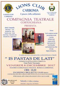 """Venerdì 8 dicembre, al Teatro Centrale di Carbonia, andrà in scena lo spettacolo per beneficenza """"is pastas de lati""""."""