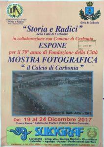 """Dal 19 al 24 dicembre, nella Saletta del Portico, una mostra fotografica su """"Il calcio di Carbonia""""."""