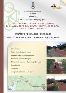Sabato 10 febbraio, a Teulada, verrà presentato il progetto di un percorso ciclo pedonale di collegamento tra il centro abitato di Teulada ed il porto turistico.