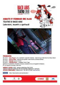 """Sabato 17 febbraio, è in programma il 4° appuntamento della rassegna """"Bacu Abis a Teatro""""."""