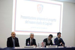 Si è tenuta oggi al Lazzaretto di Cagliari la presentazione delle tre proposte per il nuovo stadio di Cagliari.